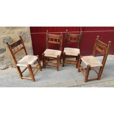 Series Of 4 Spanish Chairs 17th Century Haute Epoque