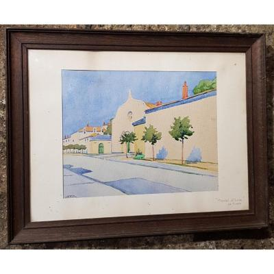 Watercolor Circa 1930 La Rochelle Representing The Saint Louis Hospital Signed