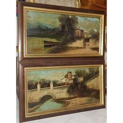 Pair Of Paintings Spain Views Of Granada Signed Circa 1900