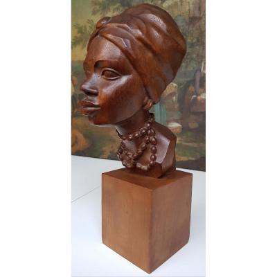 Sculpture Africaniste Vers 1920-1930 En Acajou Sculpté Signée Ramos