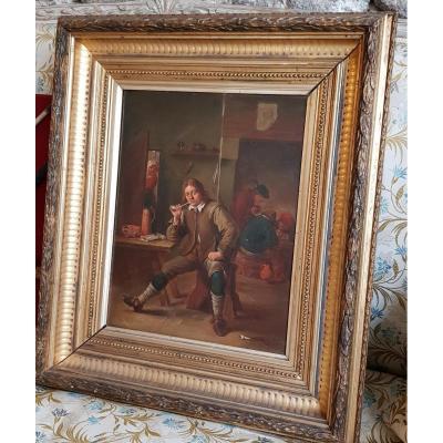 Tableau Fumeur Accoudé A Une Table d'Après David Teniers De Henri Pauvert (1864-1951)