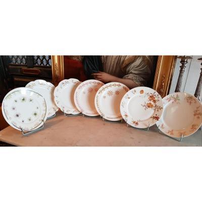 7 Assiettes d'éssai De Décors Haviland porcelaine Limoges