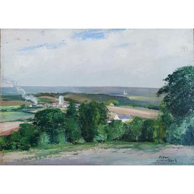Tableau Breton Signé Pierre Chevillard (1908-1991) Saint Thurial Près De Rennes