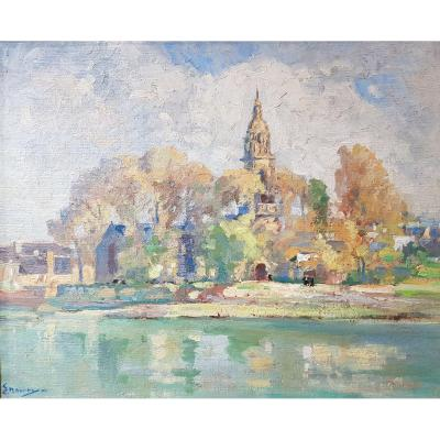 Tableau Émile Nourry (1870-1961) église Saint Sauveur Du Faou Finistère école Bretonne