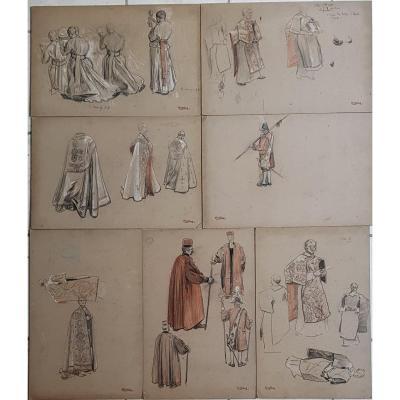 17 Preparatory Drawings Auguste Lepère For The Procession Fête Dieu Nantes 1901