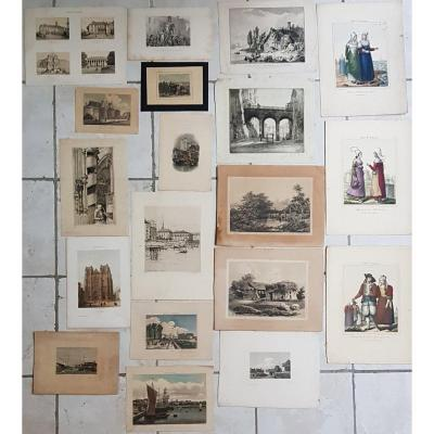 Lot Of 19 Engravings On Nantes And Surroundings From 18th To 20th Century.