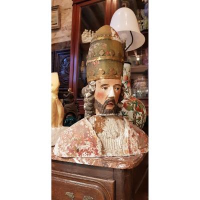 Buste De Saint Corneille Cornely En Pierre Calcaire Polychrome Et Doré