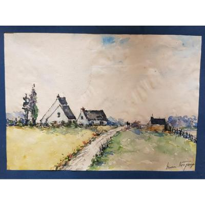 Breton Watercolor Signed Henri Noizeux (1871-?) Country Houses In Brittany