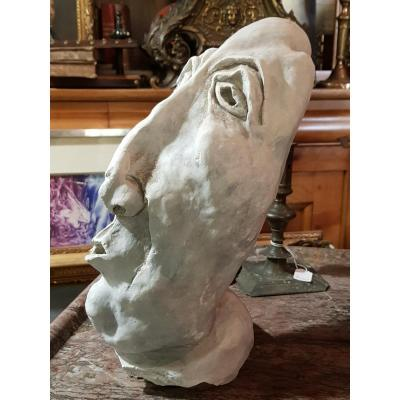 Strange Sculpture In Plaster Signed Alex And Dated 70 Man With Suffering Face