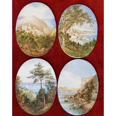 4 Views Of Cannes, Antibes, Poggio & San Remo Ceramic Plates Adélaide Anne Godfrey (1827-1915)