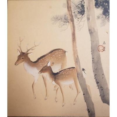 Aquarelle Et Gouache Japonaise Cerf Et Biche Sur Papier Argenté XXème
