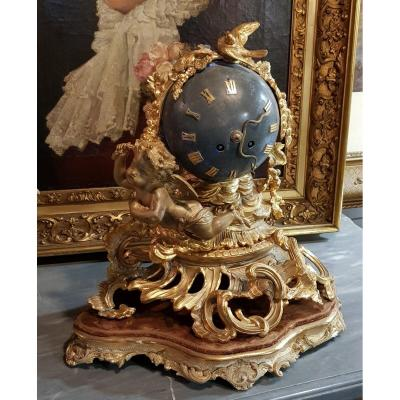 Napoleon III Clock With The Celestial Sphere And Angelot.