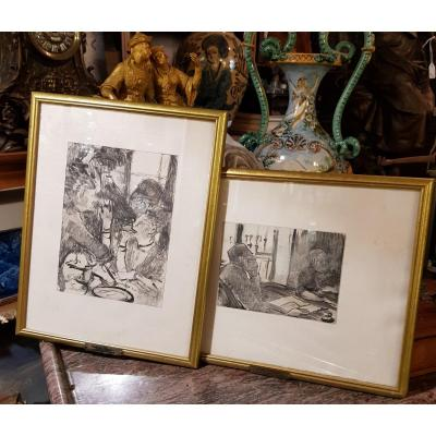 2 Gravures d'Ap. Edgar Degas (1834-1917) Gravé Par Maurice Potin