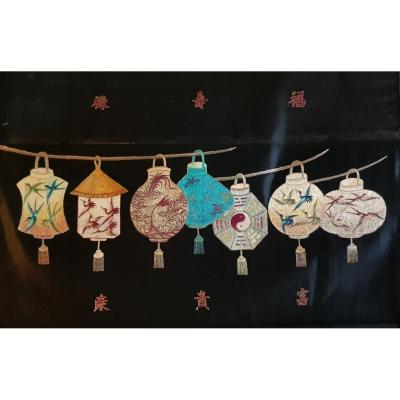 Chinese Embroidery Embroidered Panel With 7 Lanterns And Auspicious Symbols Qing Dynasty