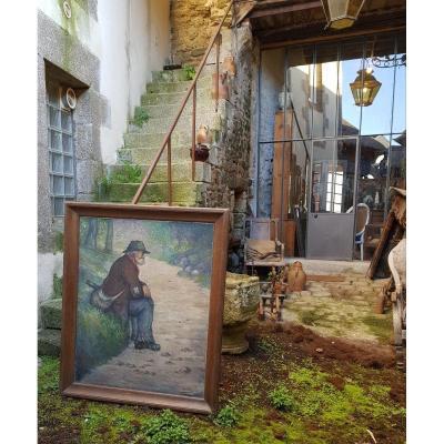 Grand Tableau Historique De La Butte Montmartre De Géo Cim Ami De Modigliani Et Raoul Dufy