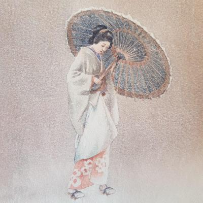 Aquarelle Japonaise Femme Ou Geisha à l'Ombrelle Signée Tani