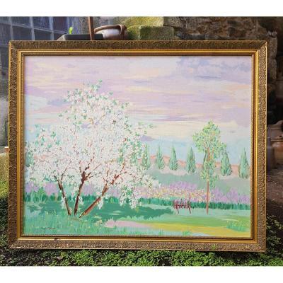 Grand Tableau Pommiers En Fleurs En Normandie Par Viviane Douek Pont l'évêque