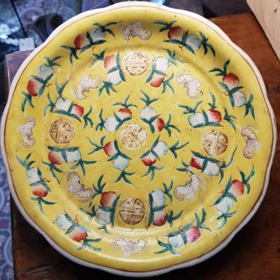 Polylobed Plate Yellow Enamel Decor Of Bats And Peaches Peranakan Porcelain