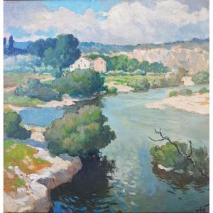 Tableau Le Gard à Collias Par Gabriel Vié Vers 1950 Occitanie