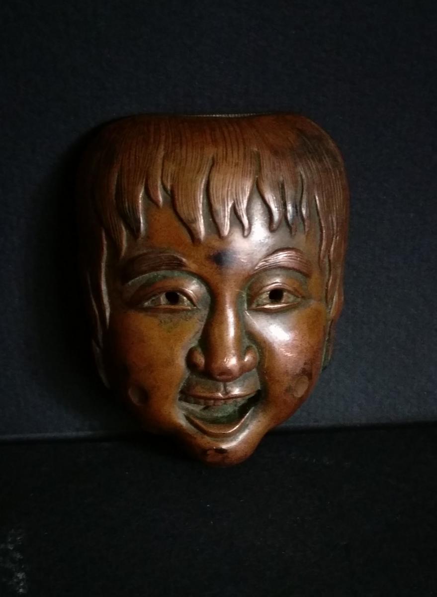 Boite Allumettes Japon, Cuivre Et Laiton, Masque Japonais, XIXe, Meiji