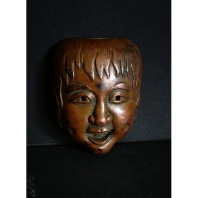 Matchbox Japan, Copper And Brass, Japanese Mask, Nineteenth, Meiji