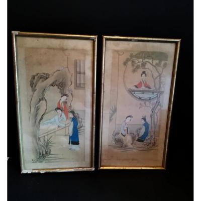 Paire De Peintures Sur Soie, 3 Courtisanes, Chine XIXe Siècle; Encadrées