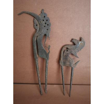 Indonesian, 2 Betel Nutcrackers, Wrought Iron Scissors, Animal Figural, 19thc Or Earlier
