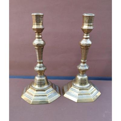 Bronze Candlesticks Pair, France, Mid- 18th Century, Coins Pattern