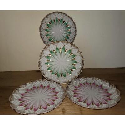 4 Assiettes Porcelaine Emaillée, Eventails Et Fleurs, XIXe Siècle