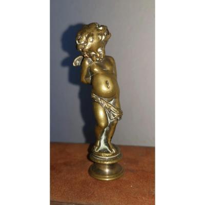 Cachet à Cire, Bronze XIXe Siècle, Cherubin Mains Liées, Amour Interdit, Monogramme