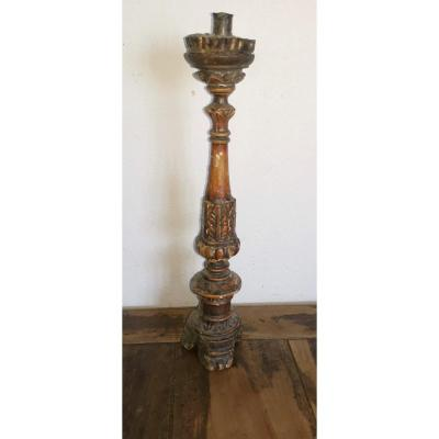 Beautiful Candlestick,  Candle Holder, Lacquered & Silvered Wood, France 17thc