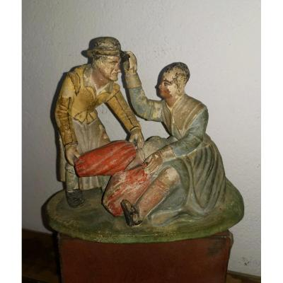 Amusing Polychrome Terracotta Group, Caricature, Alfred Le Petit Collection, 19th Curiosa