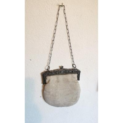 Lovely Evening Clutch, Silver Sterling Mounting, Vietnamese 19thc