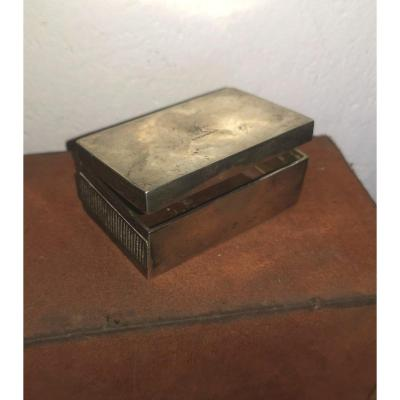 Nice European Snuffbox, Double Pyrogen, 900 Silver & Wood, Crowned Lion