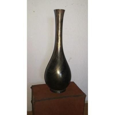 Intéressant Vase en Bronze Ou Alliage, Patine Technique Damas, Japon Meiji