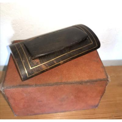 Large Snuffbox, Rosewood, Burl Wood And Brass, 19thc