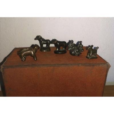 5 Opium Weights, Animal Bronzes, Burma, Cambodia, 19thc
