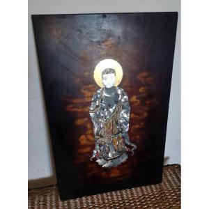Panneau En Laque Du Vietnam, Personnage Religieux, Incrustation Nacre, Laque, Coquille d'œuf XXe