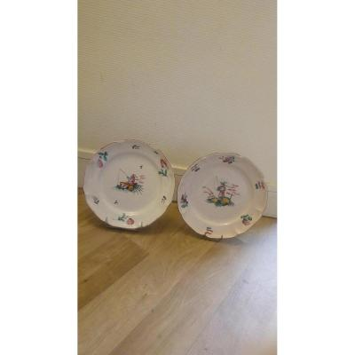 Pair Of Earthenware Plate: Islettes End Eighteenth Early Nineteenth Century.