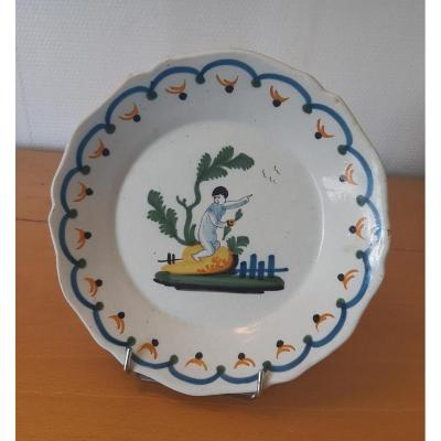 Earthenware Plate: Nevers XVIIIth Century.