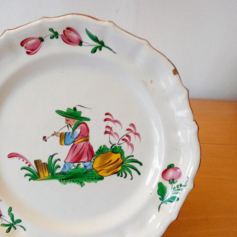 Earthenware Plate: Les Islettes XVIIIth Century.-photo-4