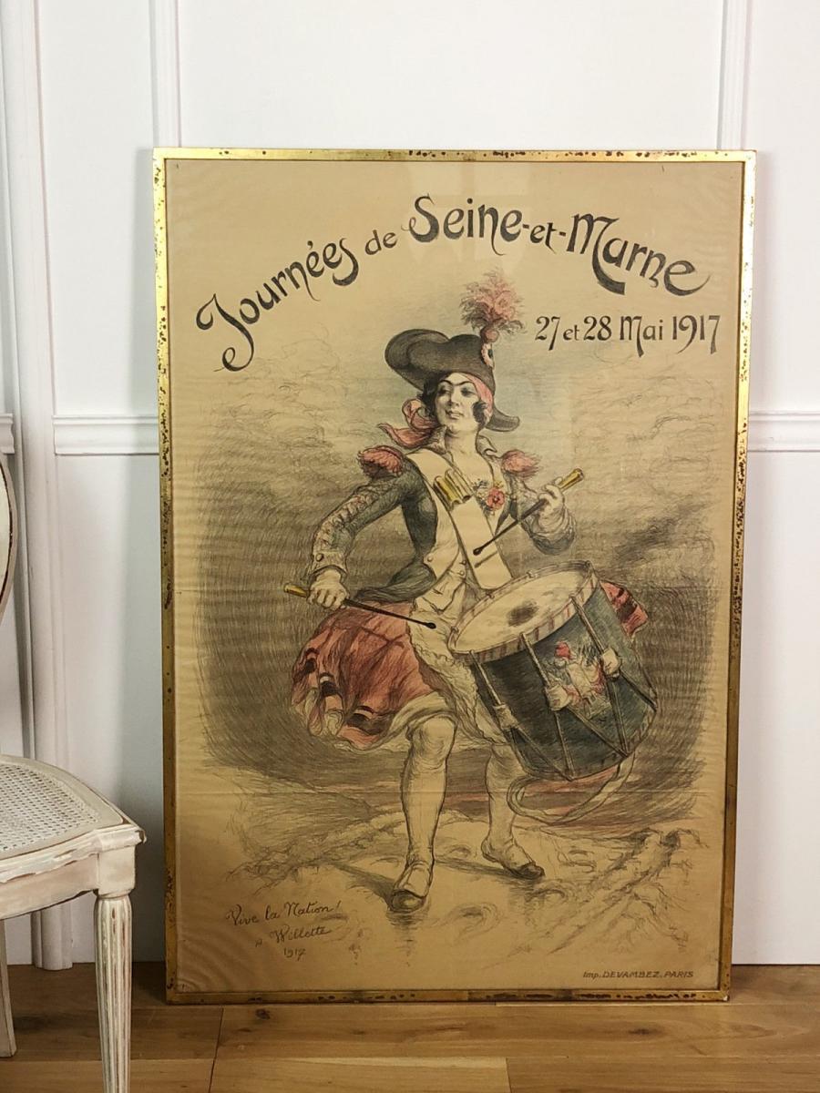 """Affiche Ancienne Sous Verre Et EncadrÉe """" Vive La Nation """" De A. Wilette 1917"""