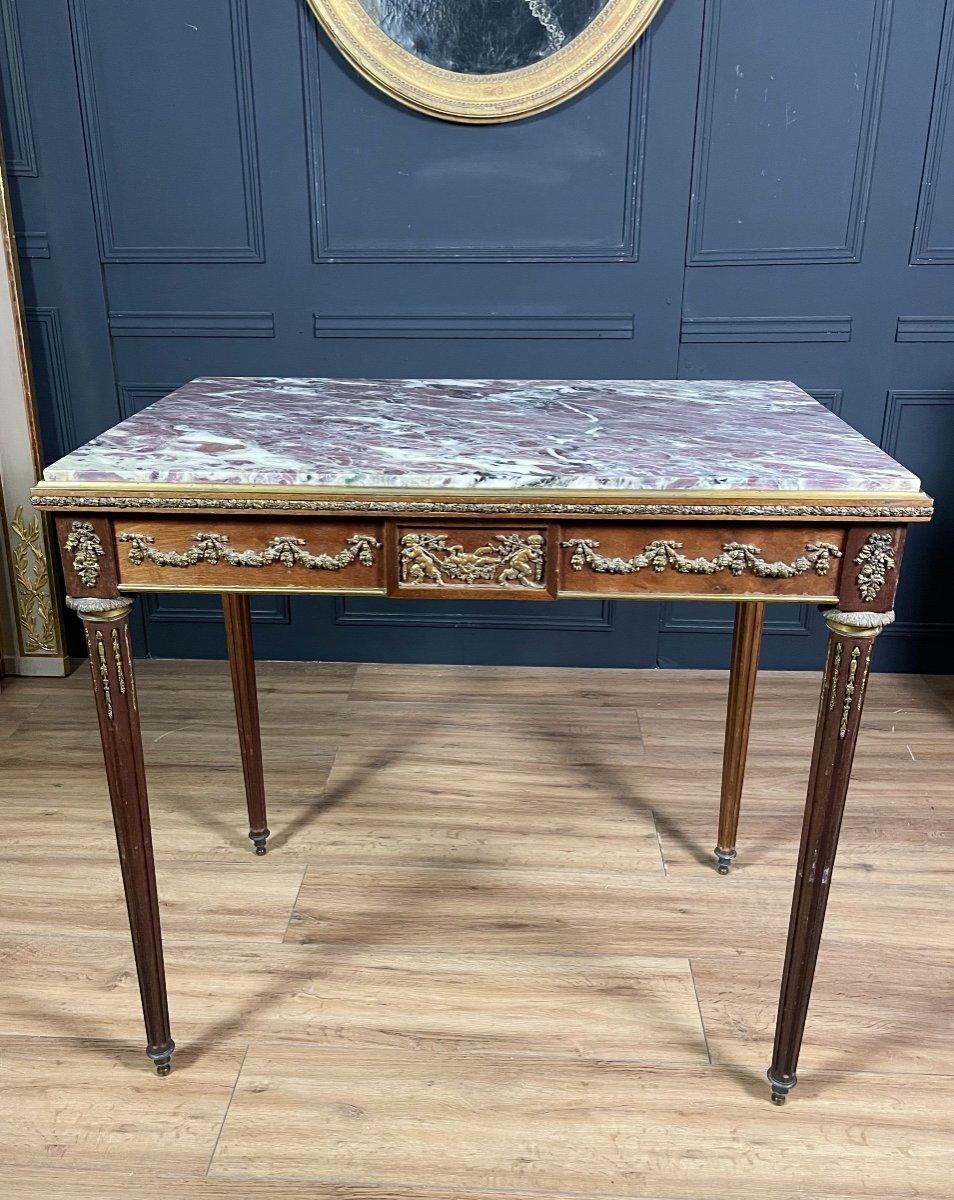Table De Milieu d'époque Napoléon III En Acajou Dans Le Goût De François Linke - XIXe -photo-3