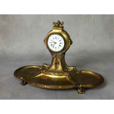Pendulette En Bronze Époque Art Nouveau / Art DÉco À DÉcor De Fleurs