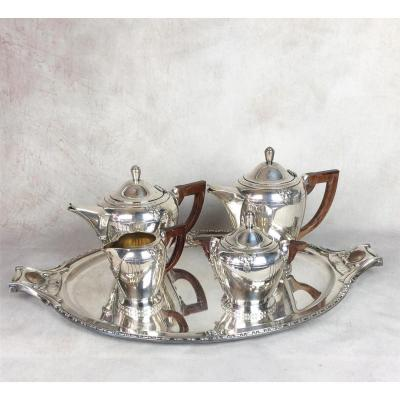 Tea / Coffee Service In Silver Metal And Handles In Rosewood Vintage Art Deco