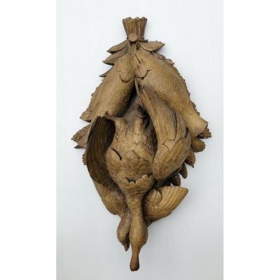 Trophée De Chasse Du XIXe : Travail Cynégétique De La Forêt Noire En Bois Sculpté