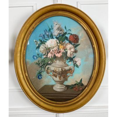 Pastel Oval Nineteenth Representative A Bouquet Of Flowers