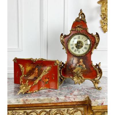 Cartel d'époque Napoléon III En Vernis Martin Et Sa Console de style Louis XV