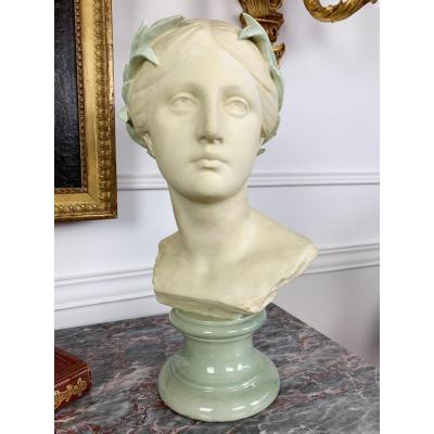 Buste En Biscuit d'une femme à l'antique De Wanderé Signé Du Cachet de Goldscheider