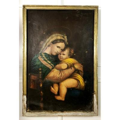 Grande Huile Sur Toile Du XVIIIe Représentant «la Vierge à L'enfant»
